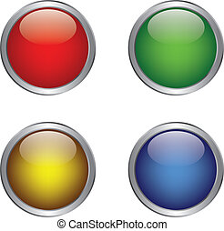 button - Colorful shiny button in metallic frame