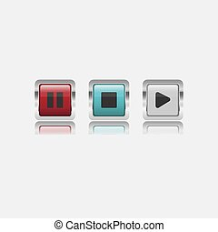 Colorful shiny glass square button with metal frame