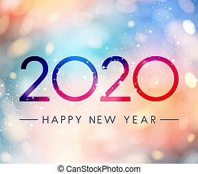 Colorful shiny Happy New Year 2020 greeting card. Vector ...