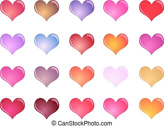 Colorful shiny hearts collection