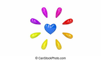 Colorful shiny hearts pulsates and spins on white background