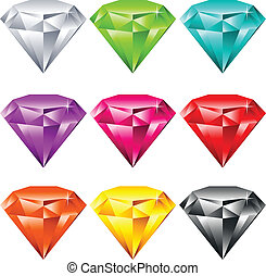 Colorful Shiny Jewels - Vector set of colorful shiny jewels.