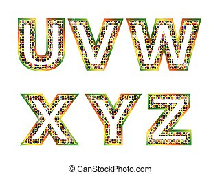 Colorful shiny letters U, V, W, X Z