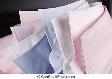colorful shirt collars - light blue, white and pink business...