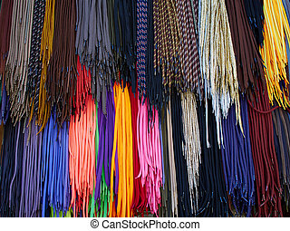 Colorful shoe laces - Display of bright colorful shoe laces...