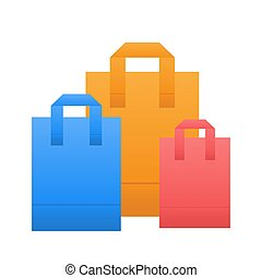 Colorful shopping bag icon in flat style on white, stock vector illustration