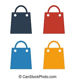 colorful shopping bag icon set on white background.