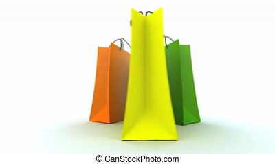 3D animation of three colorful shopping bags turning around