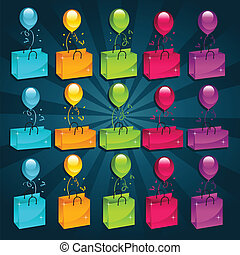 Colorful Shopping Bags and Balloons