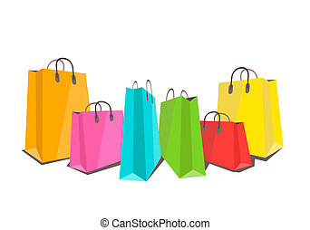 Colorful shopping bags flat illustration on white