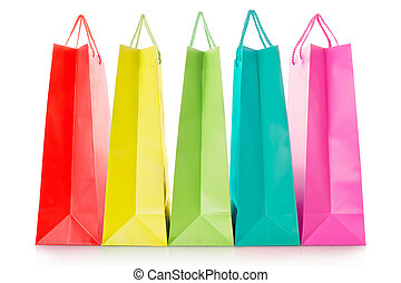 Colorful shopping bags in paper in red, yellow, green, blue...