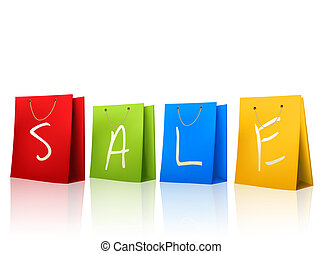 Colorful shopping bags with SALE on them. Concept of discount. Vector illustration.