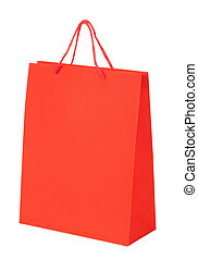 colorful shopping red bag isolated on white background