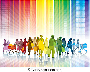 Colorful shopping - Crowd of shopping people in a colorful...