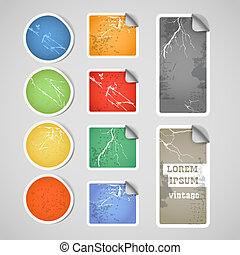 Colorful shopping vintage scratched discount stickers