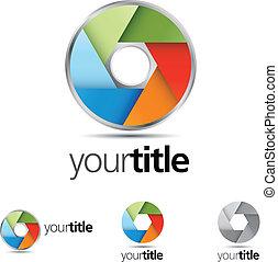 Colorful Shutter - Multi-colored shutter vector emblem...