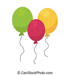 colorful silhouette balloons party design
