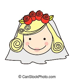 colorful silhouette cartoon face bride with veil