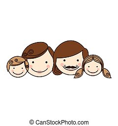 colorful silhouette cartoon family faces