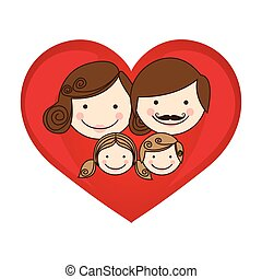 colorful silhouette cartoon heart with family faces