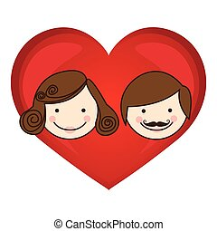 colorful silhouette cartoon heart with parents face