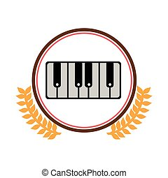 colorful silhouette circle with decorative olive branch and piano keyboard