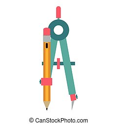 colorful silhouette compass with pencil