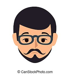 colorful silhouette front view man with moustache and glasses
