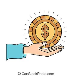 colorful silhouette hand palm giving a coin with dollar symbol