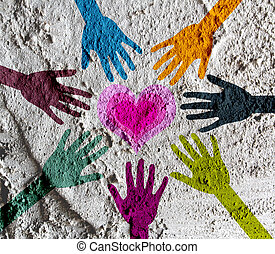 colorful silhouette hands on Cement wall texture background...