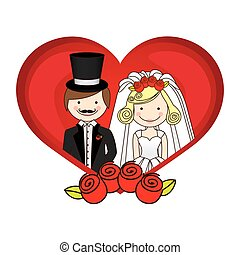 colorful silhouette heart with cartoon married couple and crown roses