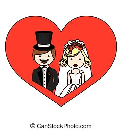 colorful silhouette heart with half body cartoon married couple