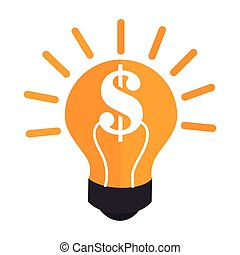 colorful silhouette light bulb with dollar symbol