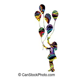 Colorful silhouette of a girl with balloons
