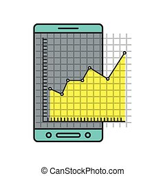 colorful silhouette of cellphone and financial risk graphic