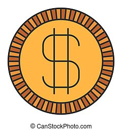 colorful silhouette of coin with money symbol