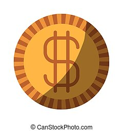colorful silhouette of coin with money symbol without contour