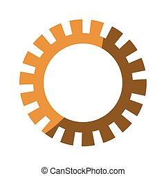 colorful silhouette of gear with half shadow
