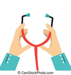 colorful silhouette of hands with stethoscope