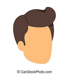 colorful silhouette of man faceless with pompadour side hair...