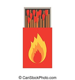 colorful silhouette of matchbox with logo flame