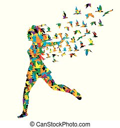 Colorful silhouette of young woman jumping with birds flying from her