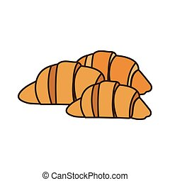 colorful silhouette set croissant bread icon