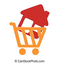colorful silhouette shopping cart with house icon