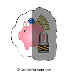 colorful silhouette sticker of piggy bank with credit card...