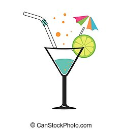 colorful silhouette with cocktail drink with lemon slice and...