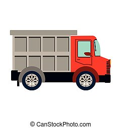 colorful silhouette with dump truck