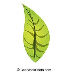 colorful silhouette with green oval leaf