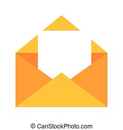 colorful silhouette with open envelope mail