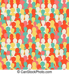 Colorful silhouettes, crowd of people seamless pattern